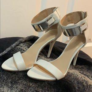 Zara basic white ankle strap heels